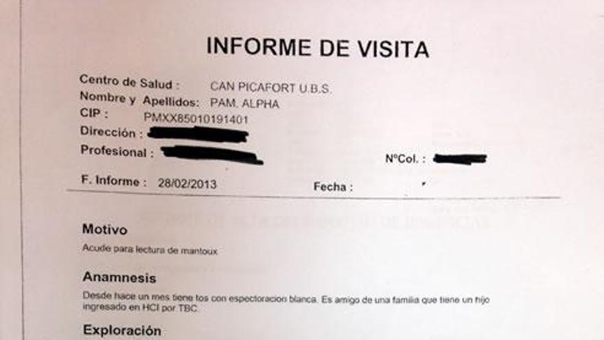 Informe emitido por el centro de salud Picafort en el que se deriva a Alpha a urgencias para rla realización de una radiografía de torax que nunca se hizo.