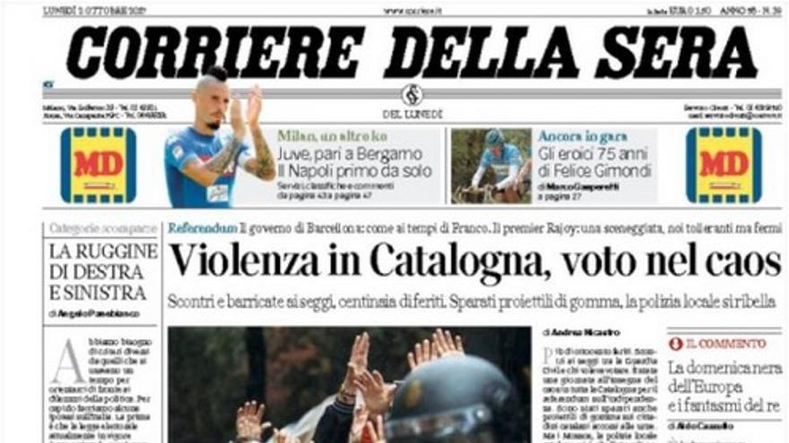 Portada de Corriere della Sera de este 2 de octubre de 2017.