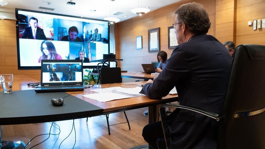 Alberto Núñez Feijóo, durante la videoconferencia con los portavoces del resto de formaciones políticas