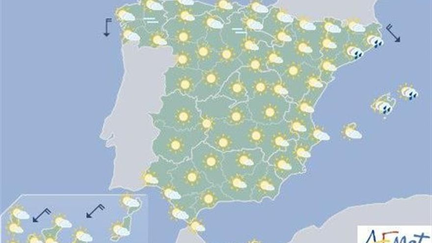 Hoy, ascenso de las temperaturas diurnas en el interior peninsular