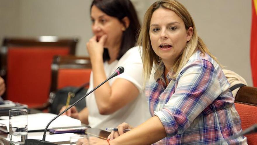 La consejera de Derechos Sociales, Igualdad, Diversidad y Juventud del Gobierno de Canarias, Noemí Santana (d), presentó este martes los presupuestos de su área para 2020. EFE/ Cristóbal García
