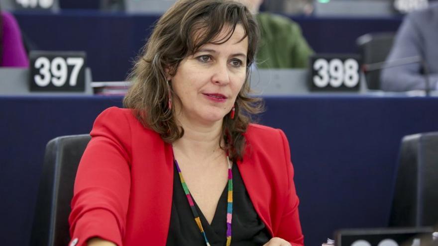 Ana Miranda en su escaño en el Parlamento Europeo