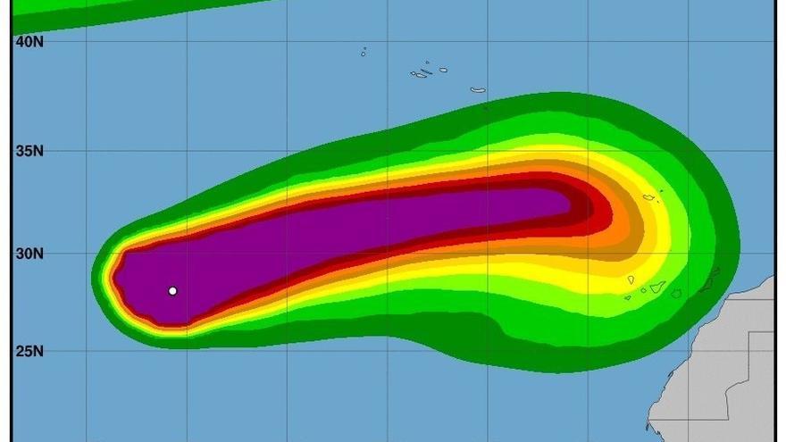Gráfica de la evolución del huracán 'Leslie'.