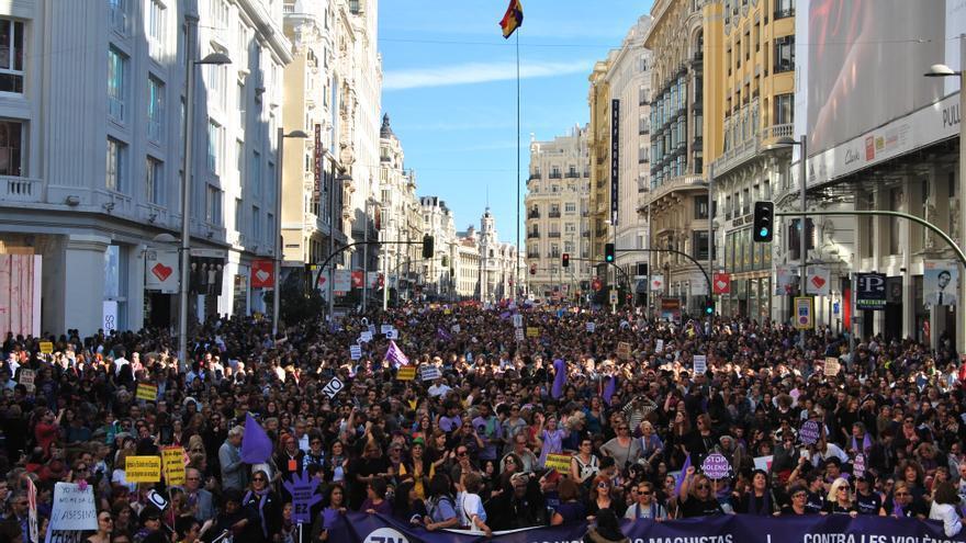 La manifestación del 7N, a su paso por Gran Vía. / Mercedes Domenech