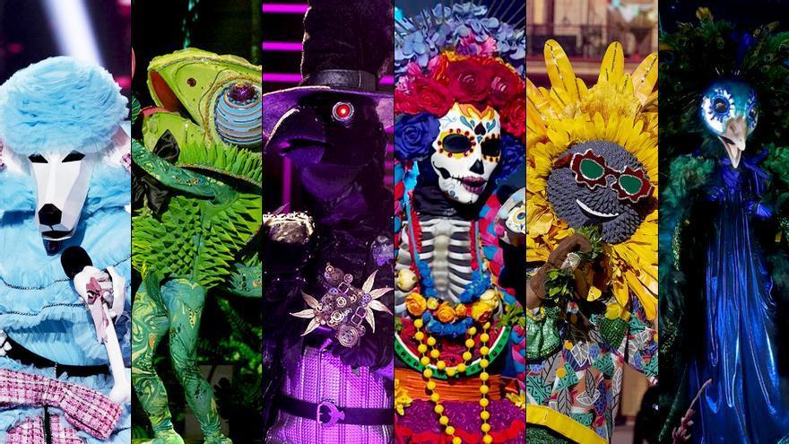 'Mask Singer': las pistas de Caniche, Camaleón, Cuervo, Catrina, Girasol y Pavo Real para la semifinal