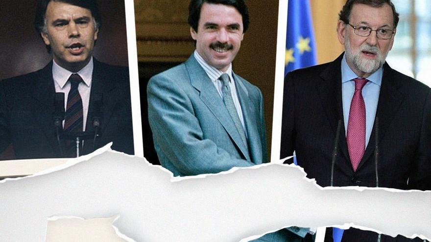 Felipe González, José María Aznar y Mariano Rajoy, tres presidentes con mayoría absoluta. (CA).