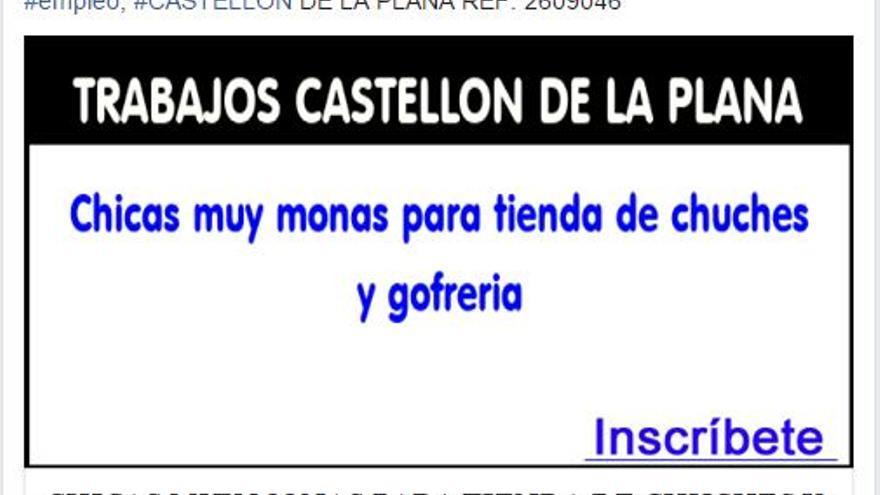 Anuncio en el portal de Facebook Ofertas Empleo Castellón