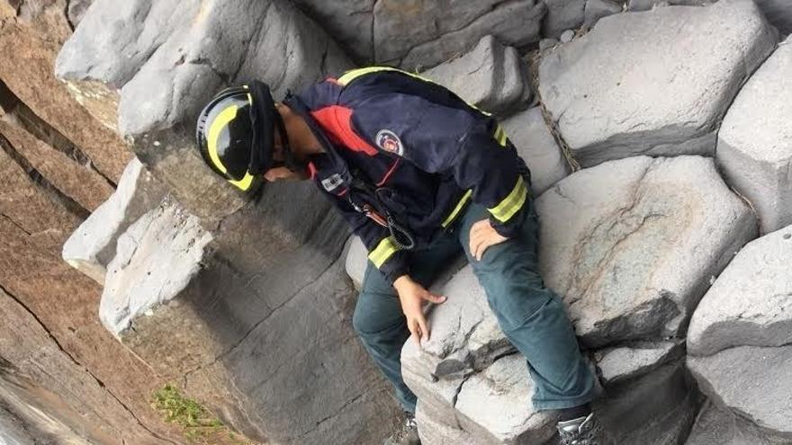 Pared del barranco por la que se elevó al rescatado
