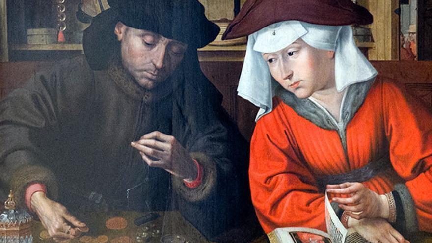 'El prestamista y su esposa'. Cuadro de Quentin Metsys.