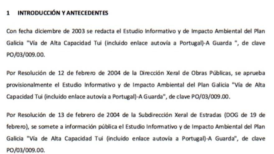 Repaso histórico al proyecto del corredor del Baixo Miño hecho por la Xunta en el que recuerda su origen en el Plan Galicia