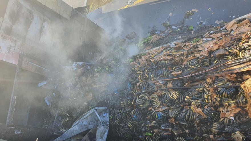 Zona afectada por el fuego registrado en un contenedor frigorífico situando en un almacén de plátanos en la zona de Todoque (Los Llanos de Aridane).