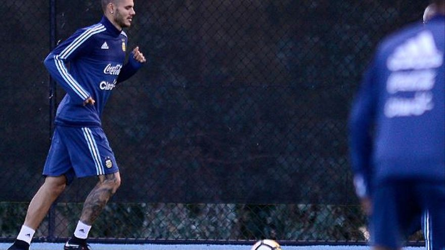 Mauro Icardi durante un entrenamiento con la selección argentina de Sampaoli en Melbourne (Australia).