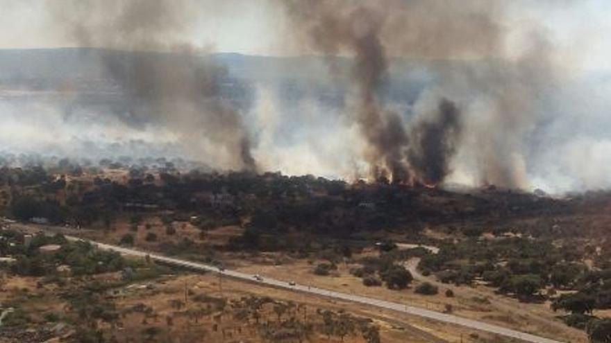incendio Caceres Aspecto desde los aviones