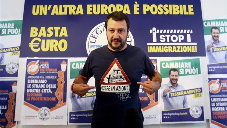 El líder de la Liga Norte, Matteo Salvini, durante una rueda de prensa en Milán (Italia)