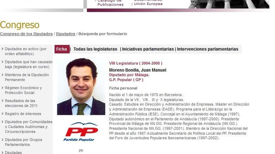 Currículum oficial del Congreso de los Diputados de Juan Manuel Moreno Bonilla (2004-2008)