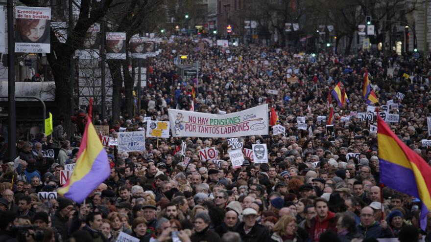 Convocatoria en Madrid por la libertad de expresión y el sistema de pensiones. OLMO CALVO.