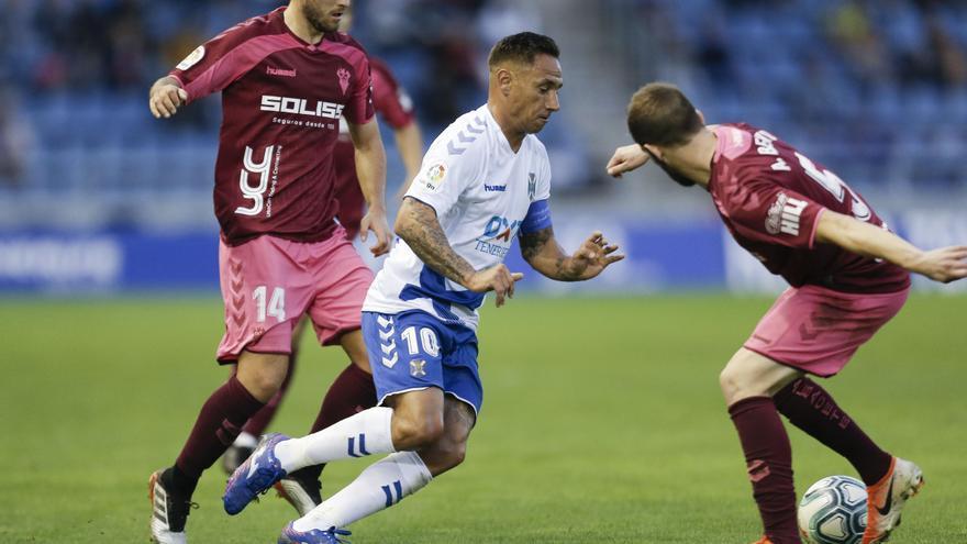 Suso Santana durante el Tenerife-Albacete de este pasado sábado en el Heliodoro.