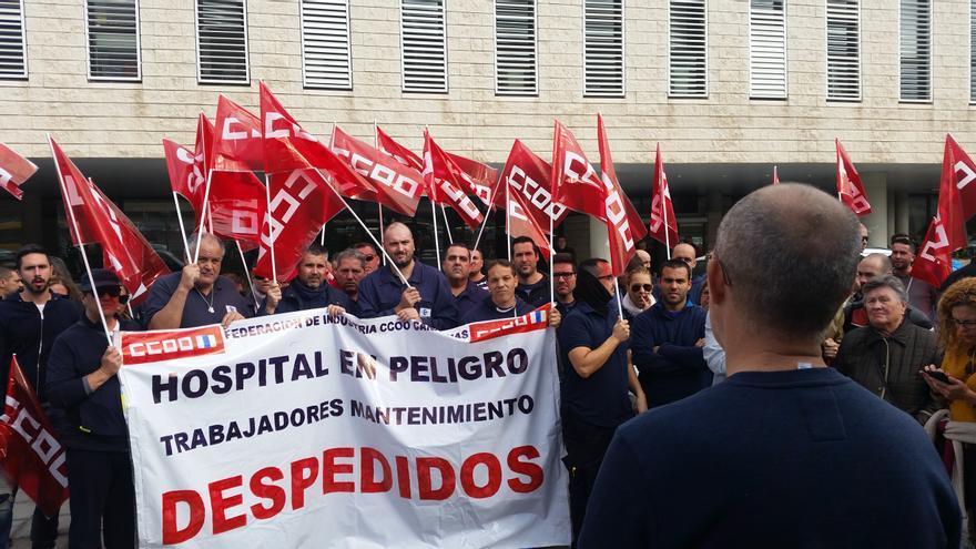 Trabajadores de mantenimiento del Hospital Doctor Negrín