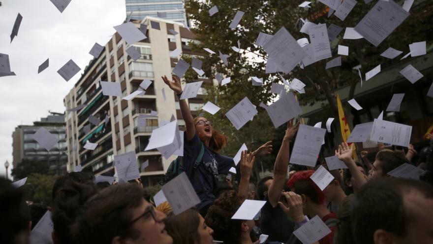Protesta organizada por sindicatos y organizaciones independentistas en Barcelona el 3 de octubre