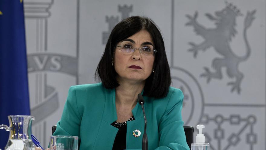 La ministra de Sanidad, Carolina Darias durante una rueda de prensa posterior al Consejo Interterritorial del Sistema Nacional de Salud en la Secretaría de Estado de Comunicación del Complejo de la Moncloa, a 28 de abril de 2021, en Madrid (España). Duran