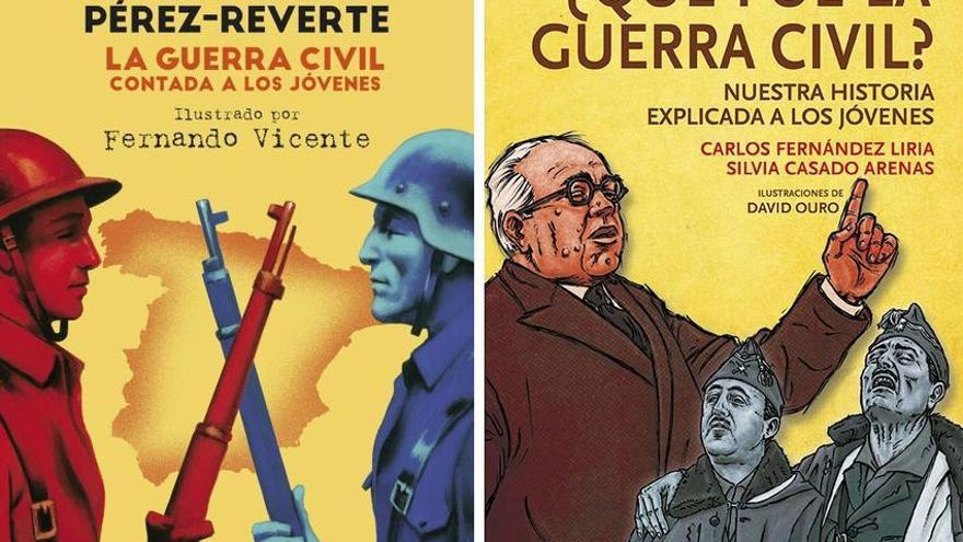 Portadas del libro 'La guerra civil contada a los jóvenes', de Pérez-Reverte y la réplica, '¿Qué fue la guerra civil?'