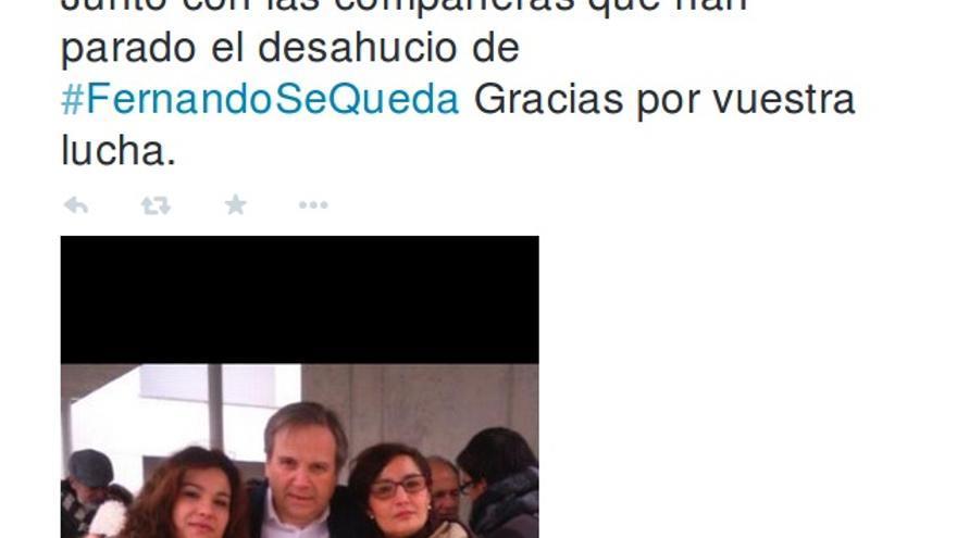 Tuit de Antonio Carmona sobre los desahucios.