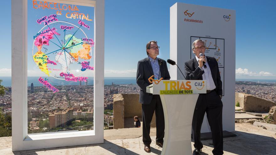 Artur Mas i Xavier Trias la roda de premsa de campaya al Turó de la Rovira / ENRIC CATALÀ