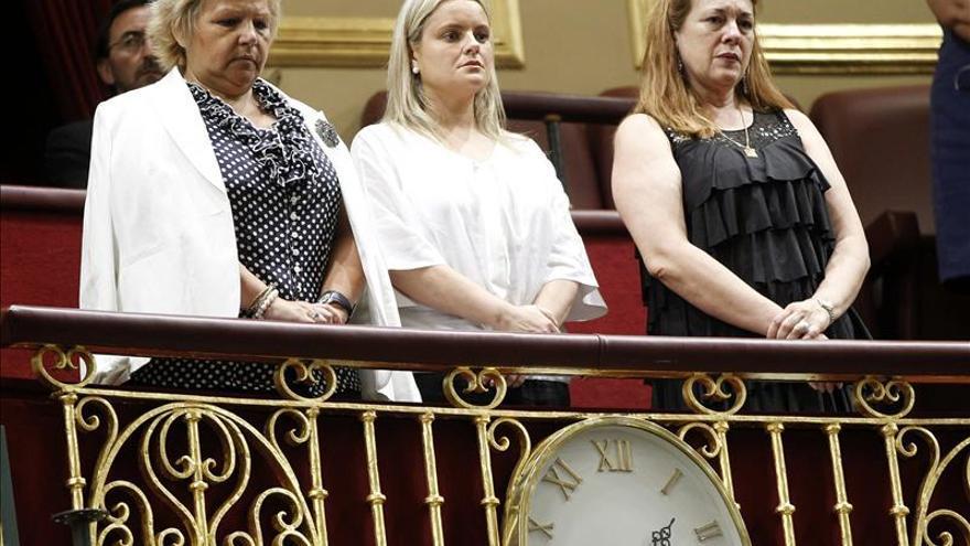 Las portavoces de las víctimas del terrorismo en un acto en el Congreso