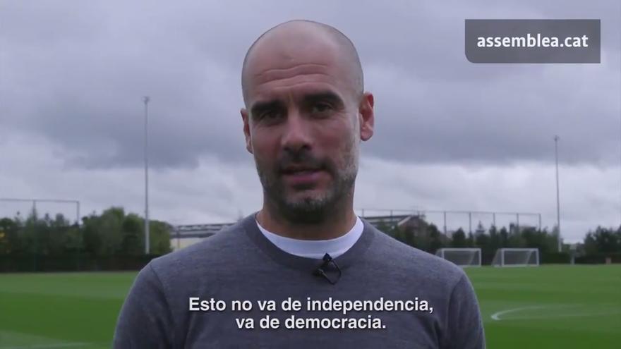 Pep Guardiola apoya el referéndum en un vídeo de la ANC