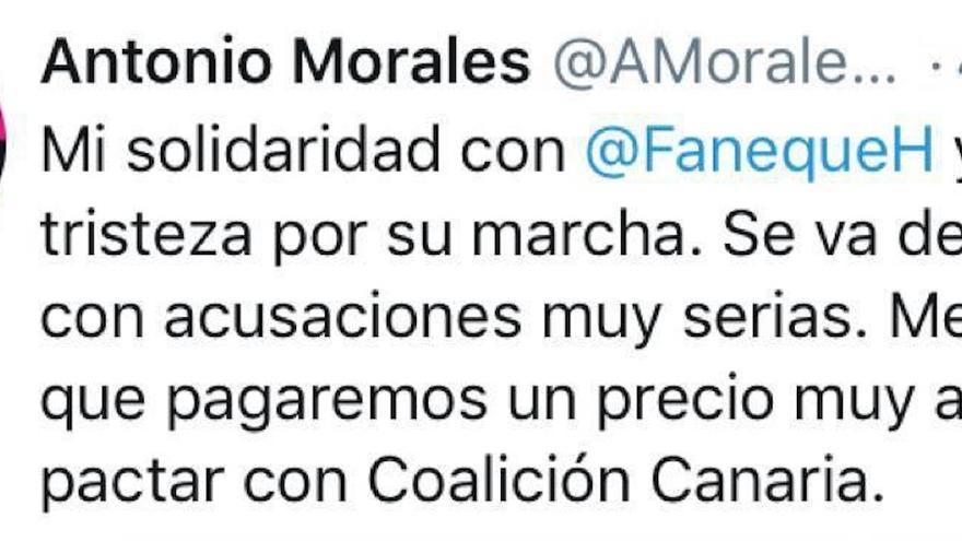Publicación en Twitter de Antonio Morales.