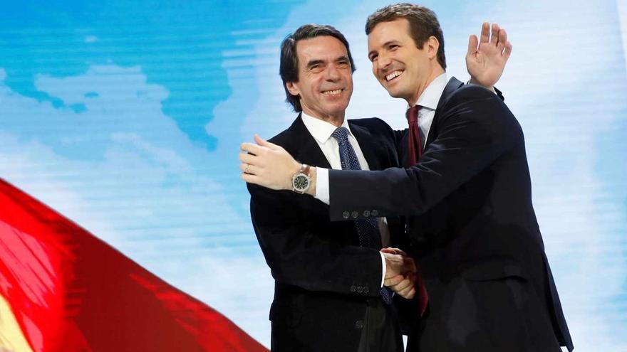 Aznar y Casado en la Convención de rearme ideológico del PP.