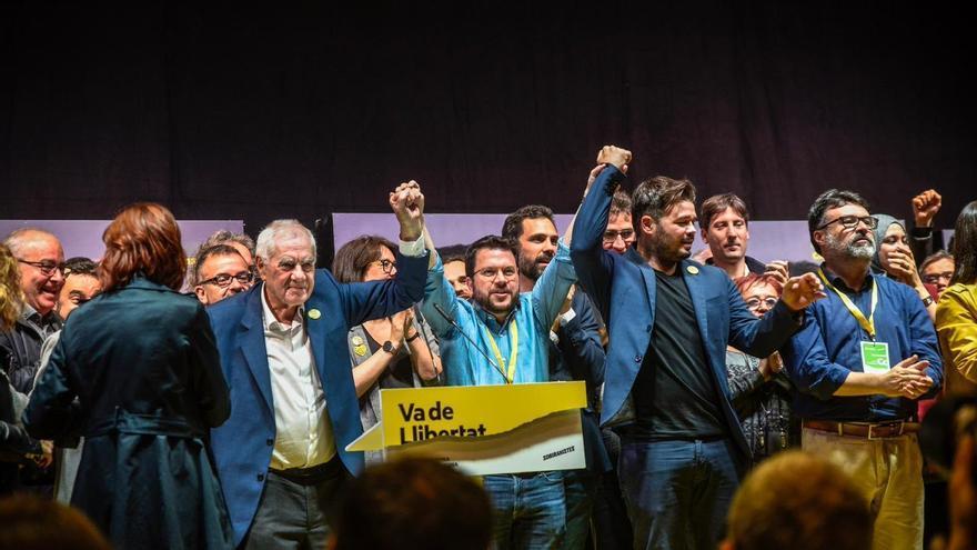 Maragall, Aragonès y Rufián celebran la victoria de ERC