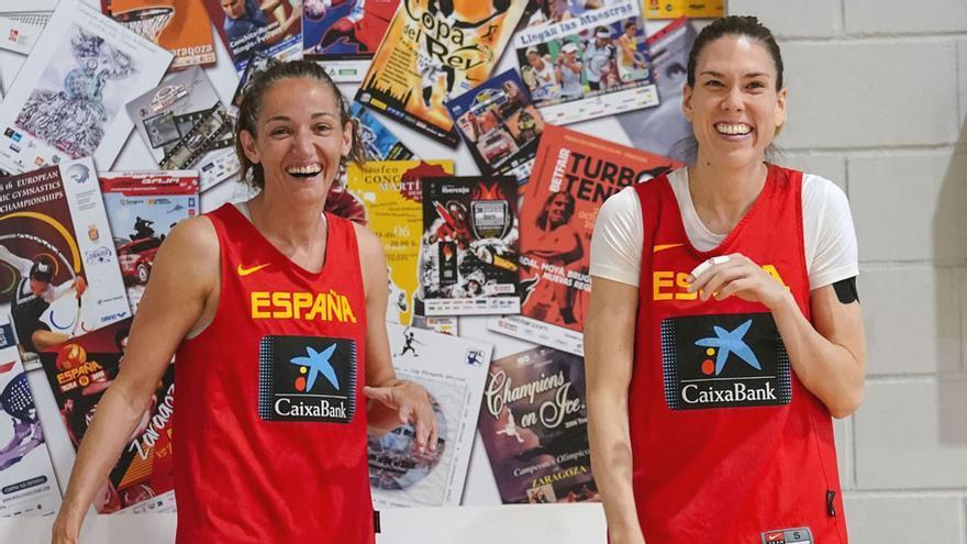 Laia Palau y Anna Cruz, en su preparación para el Eurobasket 2019