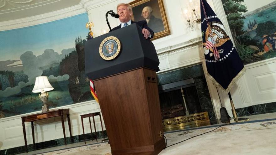 El presidente de Estados Unidos, Donald Trump, fue registrado este lunes, durante una alocución a la prensa en la Casa Blanca, en Washington, DC (EE.UU.).