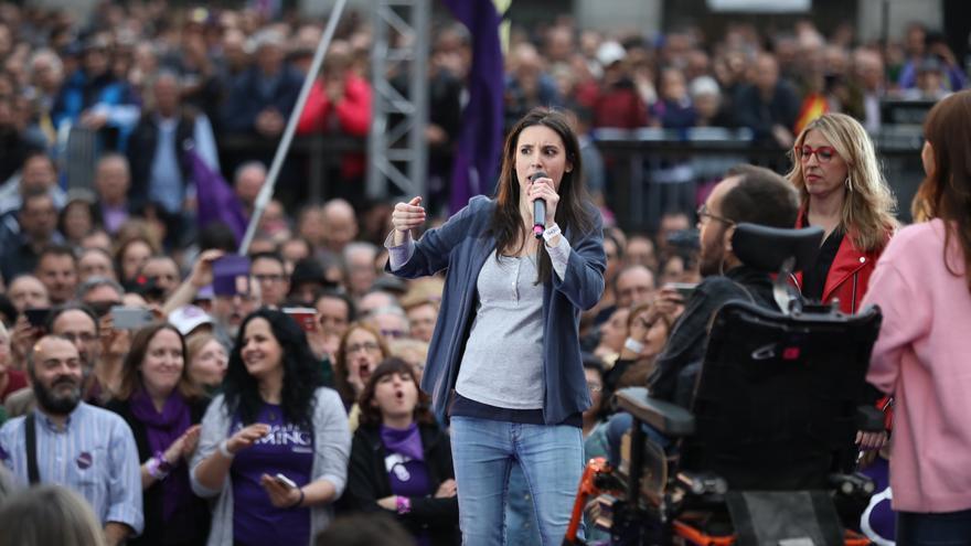 Irene Montero en un acto de Unidas Podemos