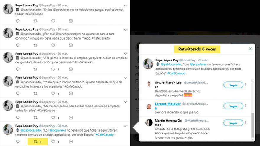 Los comentarios de López Puy apenas reciben interacciones, excepto cuando hace aparición parte de la red de cuentas falsas, siempre las mismas, que apoyan a Pablo Casado en Twitter. Los investigadores de 'Heurística' creen que son los perfiles que López Puy controlaba.