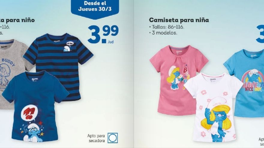 Camisetas para niñas y para niños en el catálogo de Lidl.