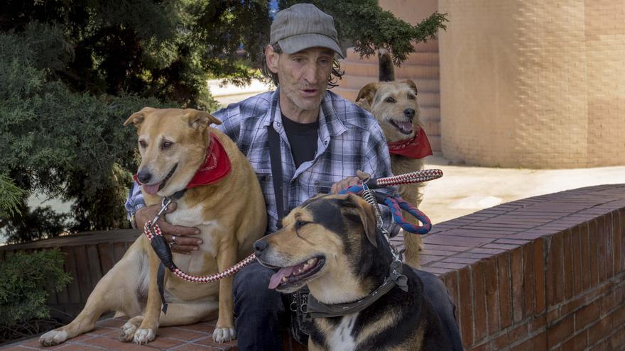 Manuel Rodríguez con sus perros. De izquierda a derecha, Sheilita, Rambo y Sheila