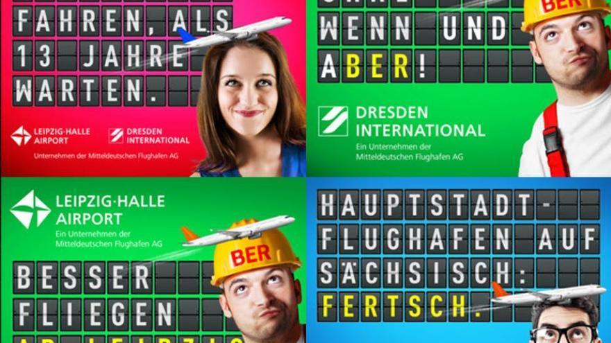 Carteles de los aeropuertos de Liepzig y Dresde se promocionan a costa del retraso en las obras del aeropuerto de Berlín Brandeburgo Willy Brandt.