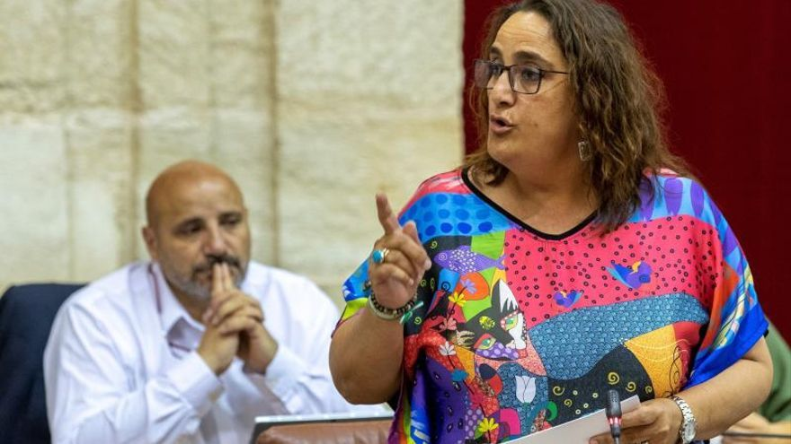 La portavoz de Adelante Andalucía, Angela Aguilera, durante una intervención en el Parlamento de Andalucía en Sevilla.