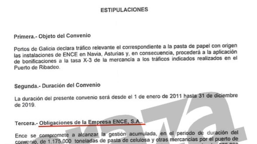 Fragmento del convenio firmado por la Xunta con Ence a la medida de las necesidades de la empresa