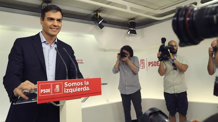 Pedro Sánchez en una comparecencia en Ferraz este martes.