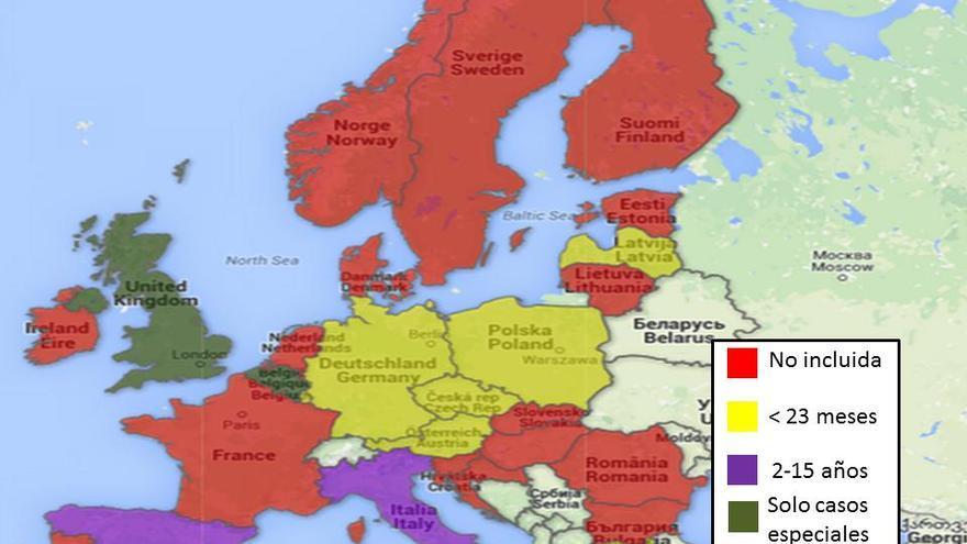 Situación de la vacuna frente a la varicela en los calendarios vacunales de Europa. Elaboración propia con datos del E-CDC