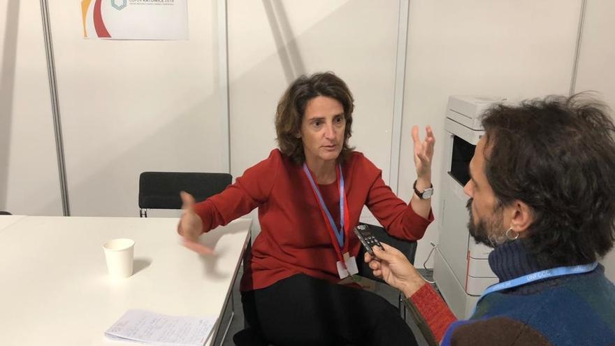 La ministra Ribera durante la entrevista.