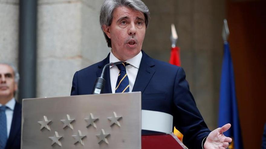 Ángel Garrido en su primera rueda de prensa como presidente en funciones de la Comunidad de Madrid.