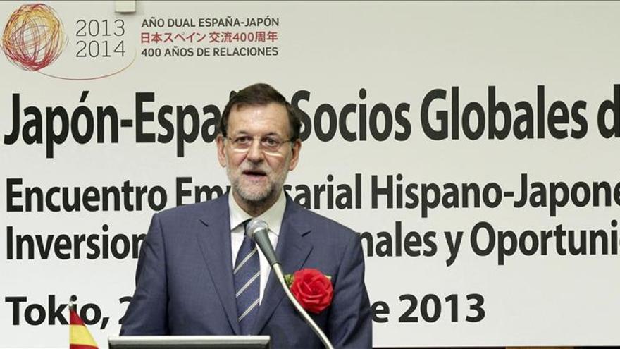 El presidente del Gobierno, Mariano Rajoy, en su intervención en el Encuentro Empresarial Hispano-Japonés, en Tokio. / Efe
