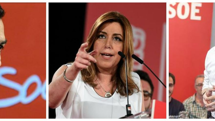 Pedro Sánchez, Susana Díaz y Patxi López se disputan el liderazgo del PSOE.