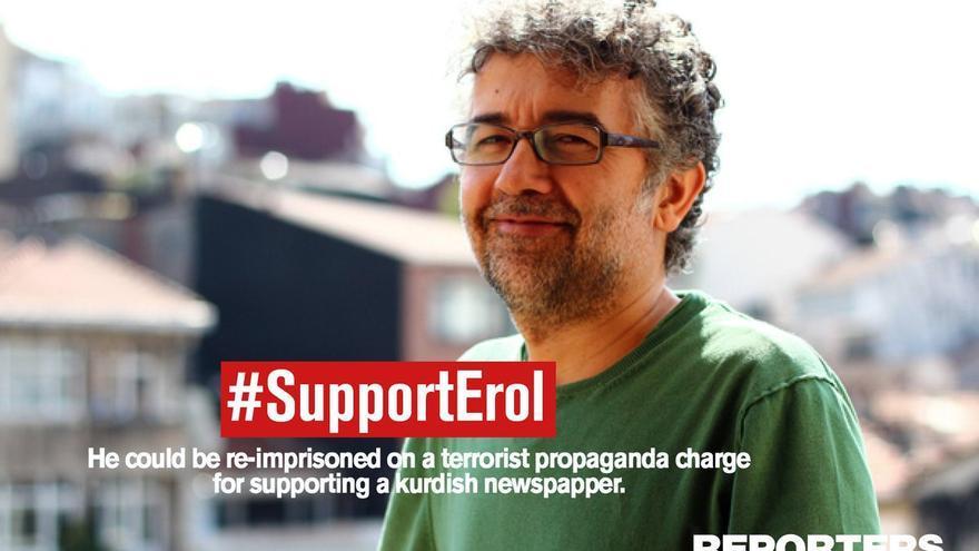 Erol Önderoglu en una imagen de campaña de Reporteros Sin Fronteras, donde es representante de Turquía