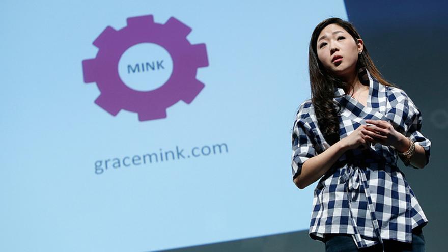 Grace Choi, en su presentación de la impresora Mink (Foto: TechCrunch en Flickr)