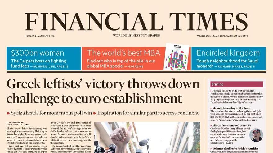FINANCIAL TIMES | La victoria de la izquierda griega desafía al establishment del euro